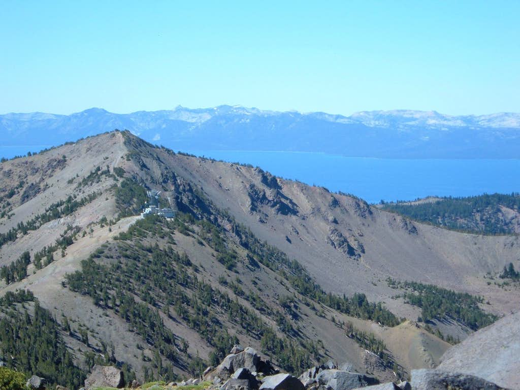Relay Peak and Lake Tahoe view from up on Mount Houghton