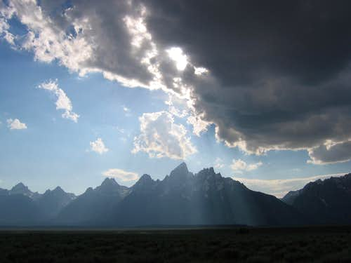 Tetons with cloud