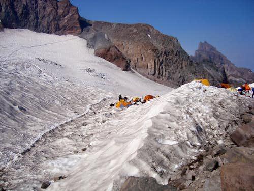 Camp on the Cowlitz Glacier