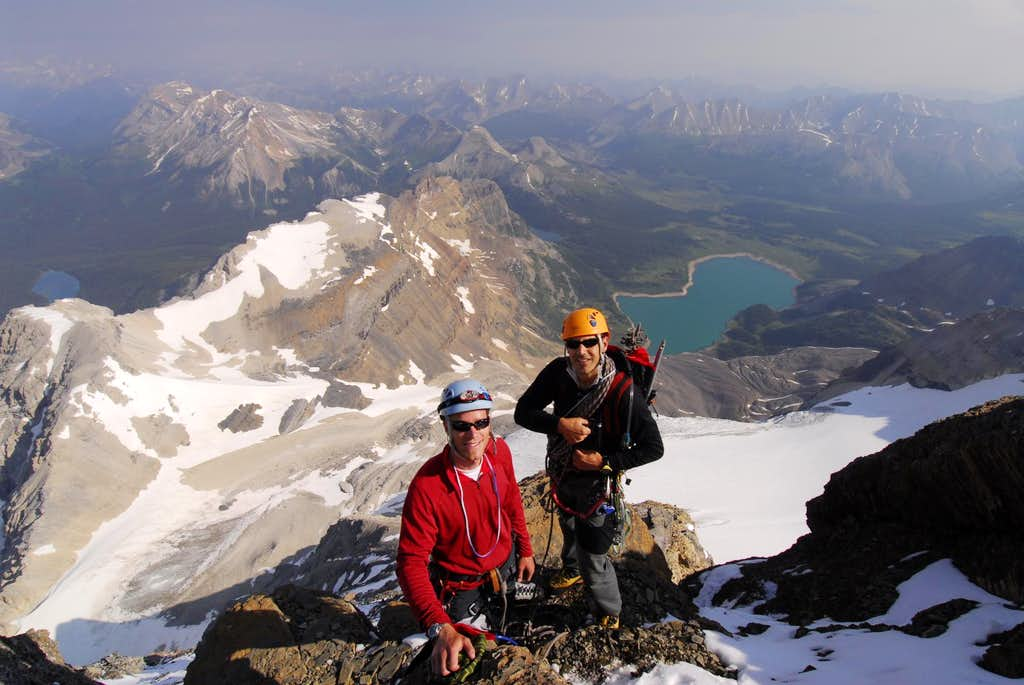 Climbers on Mt Assiniboine North Ridge
