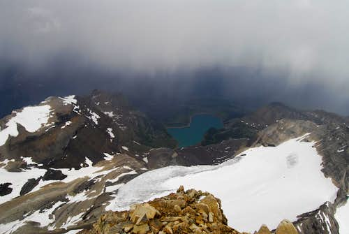 Thunderstorm over Lake Magog, as viewed from Mt Assiniboine North Ridge