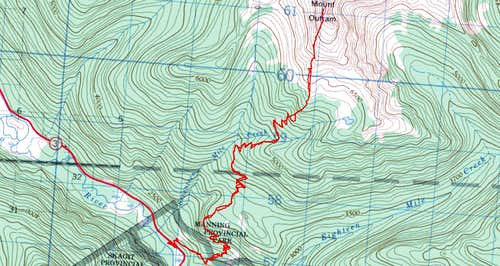 Mount Outram Topo Map with Route