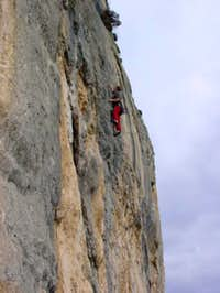 Climbing the route...