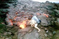 People playing with lava,  fire, explosion.