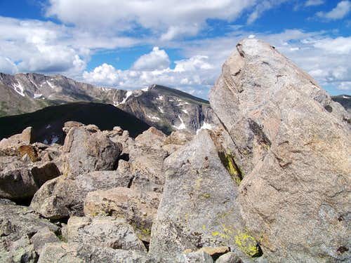 Rogers Peak uplifted summit boulder
