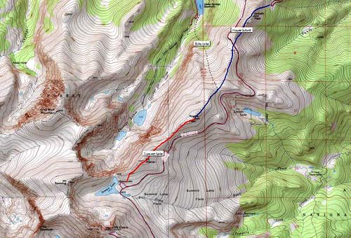 Rogers Peak, three primary routes