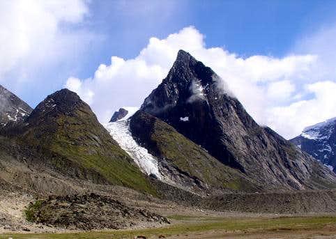 A shot of a glacial moiraine,...