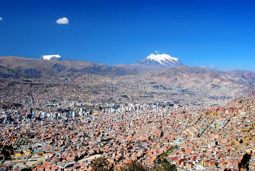 Illimani and Mururata from La Paz