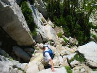 James descending the northwest ridge