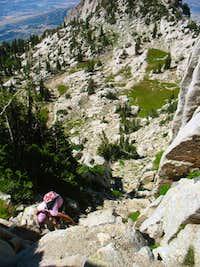 Melissa ascending Lone Peak s northwest ridge