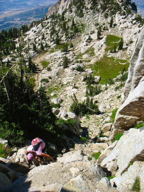 Melissa ascending Lone Peak's northwest ridge