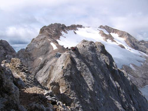 Climbers approaching the end of the route
