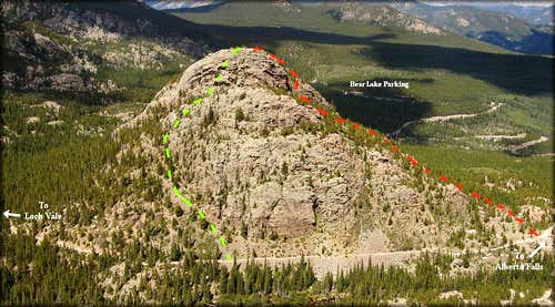 Two Routes on the South Side of the East Glacier Knob.