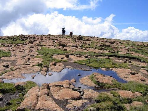 The bald summit plateau of...