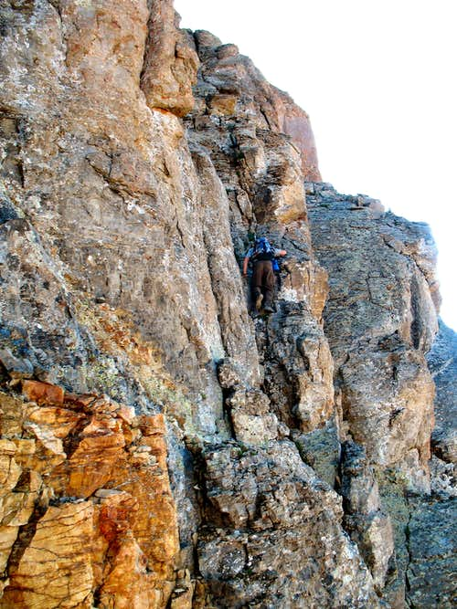 Climber on U.S. Grant\'s crux pitch