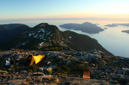camping on the summit