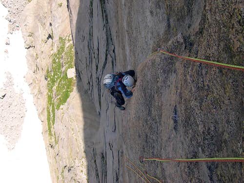 Coming up the crux pitch