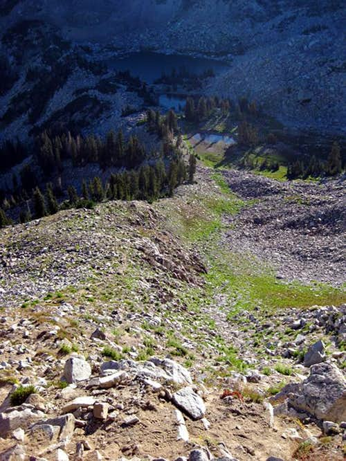 The Route from Upper Red Pine Lakes to the Saddle.