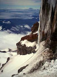 Gigantic icicle seen on ski descent or Kautz Headwall Mt. Rainier