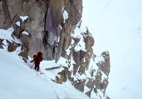 Ascending the Crux Couloir, West Rib
