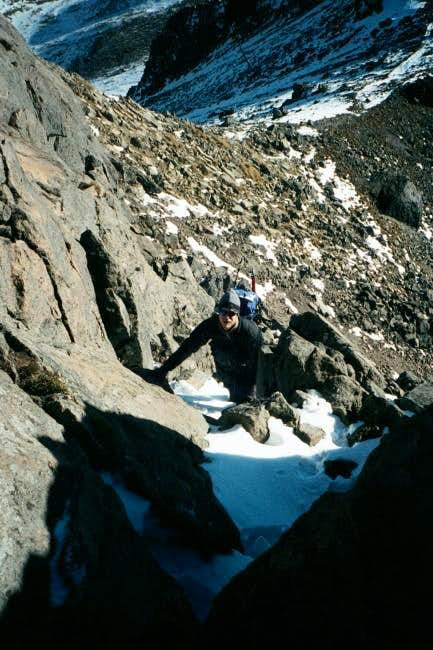 Climbing a snow gully on the...