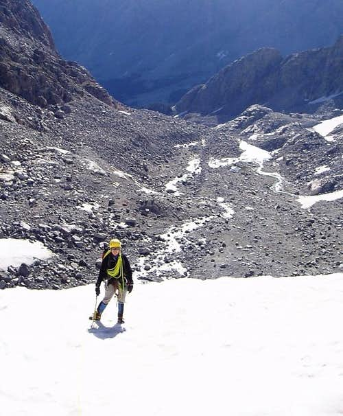 Near the top of Bastion Peak\'s glacier