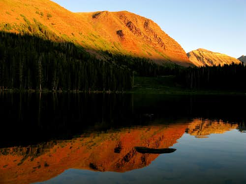 Gunsight, Dome, and Kings Peaks Reflected in Dollar Lake