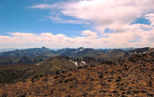 Looking South from the summit of Aneroid Mt., including Cusick Mt., Sentinel Peak and Glacier Peak