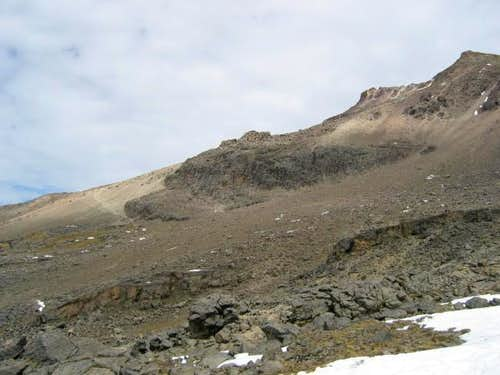 Looking up at the scree slope...