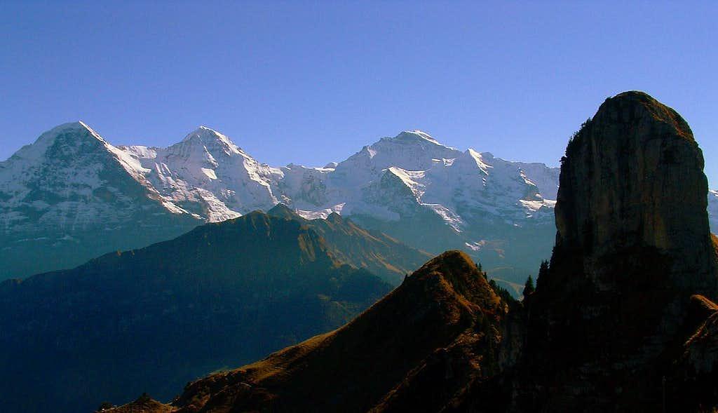 Eiger, Mönch, Jungfrau, Tuba (in the foreground)