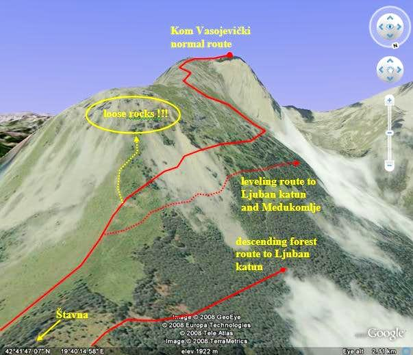 Routes on Kom Vasojevički