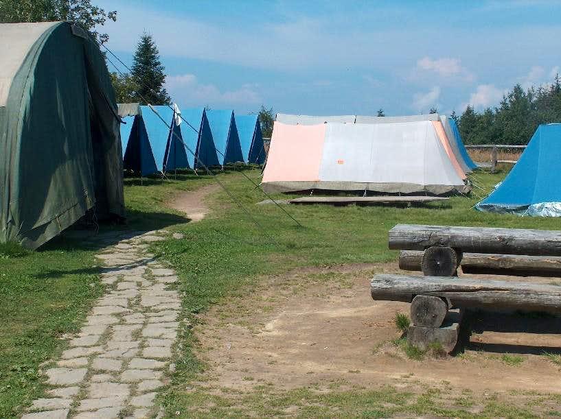 Camping area on top of Luban, Gorce