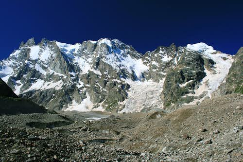 The Shkhelda Group above the Shkhelda Glacier