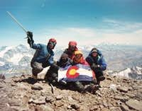 Colorado State University atop Cerro Tupungato with Aconcagua in background