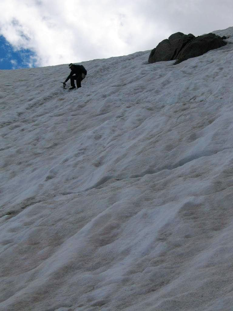 Steep downclimbing