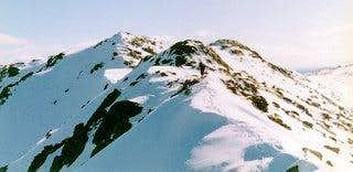 Snow capped ridge of...