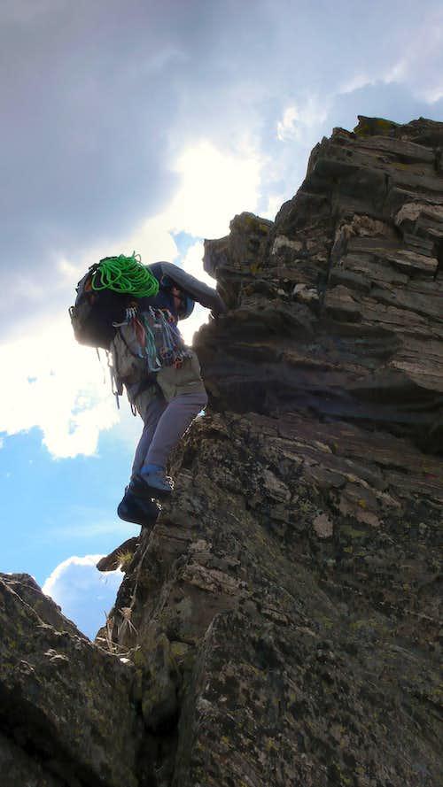 Steep scrambling on Blitzen Ridge