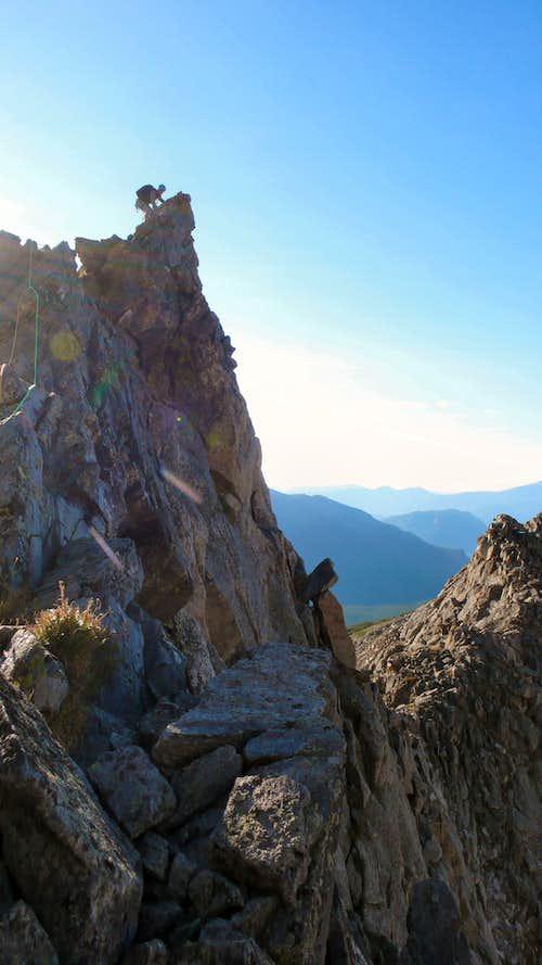 Climber on Blitzen Ridge's 1st Ace
