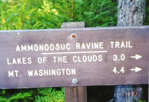 The trailhead sign at the...