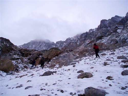 Ascending to Bivouac Saddle...