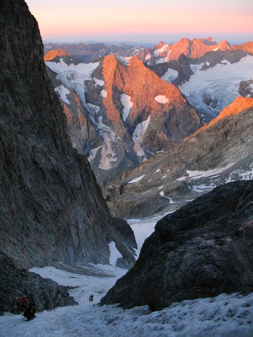 sunrise from Coolidge couloir above Sele glacier