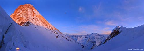 Khan-Tengri -Pobeda sunset panorama, seen from Camp 5800m.