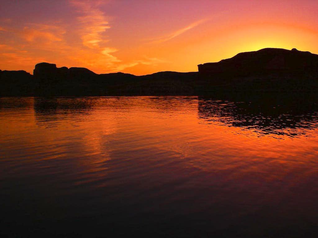 Fiery Lake Mead Sunset