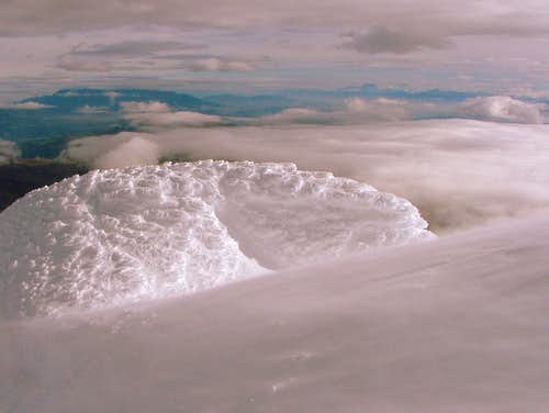 Wind blasted on Cotopaxi.