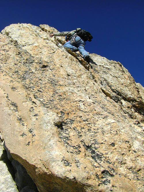 Gordon dispatching the 'Golden Staircase,' Upper Exum Ridge