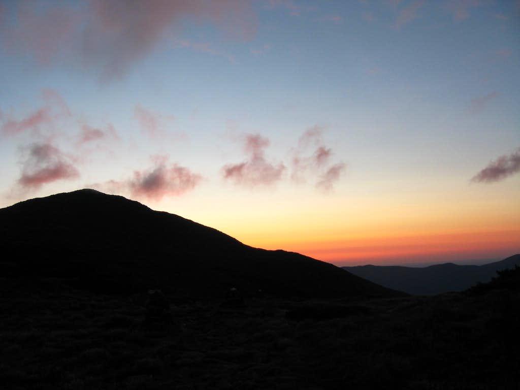 Silhouette of Mount Adams at Sunrise
