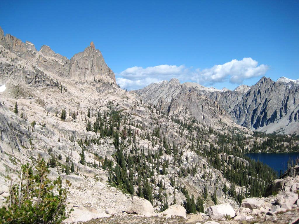 Baron Spire, Baron Peak, and Mt. Ebert over Upper Baron Lake