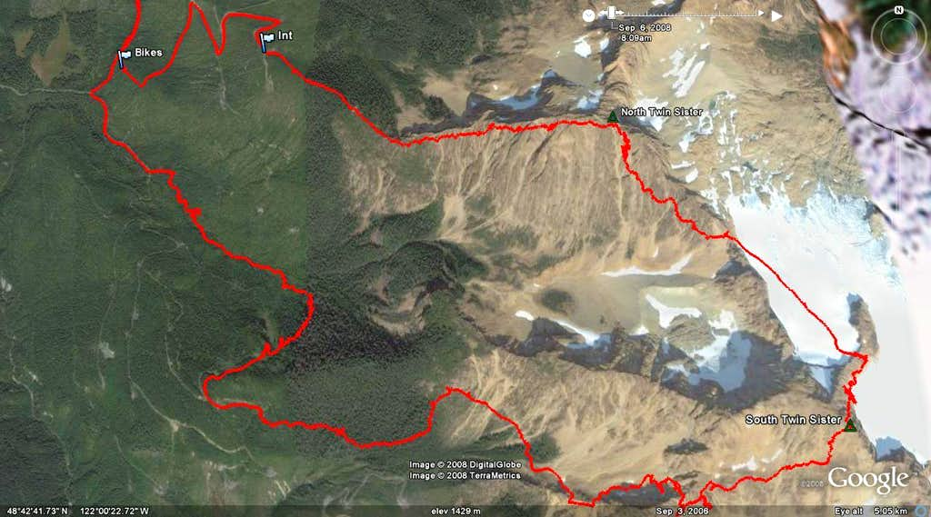 Twin Peak Hike Route in Google Earth