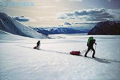 Hauling sleds along the...