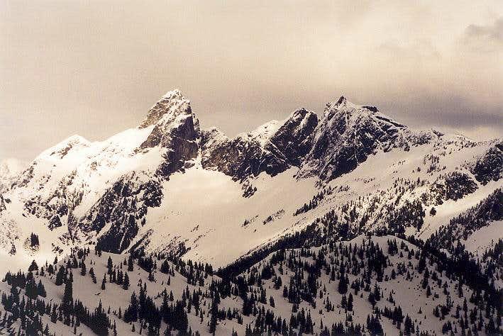 The west faces of Mt. Triumph...